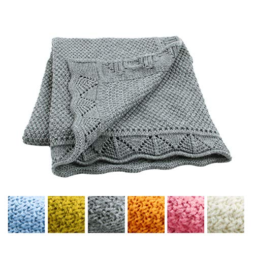 - Baby Blanket Toddler Blanket Knitted Soft for Boys and Girls(Grey,40 inchesx30 inches)
