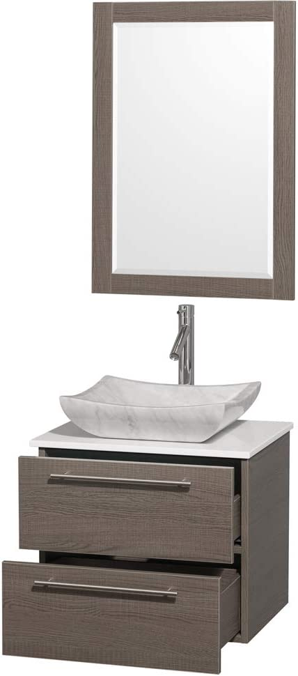 Wyndham Collection Amare 48 inch Single Bathroom Vanity in Gray Oak with Green Glass Top with Ivory Marble Sink and 46 inch Mirror