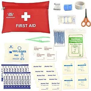 Botiquines de primeros auxilios, Bolsa Médica Portátil Kit de primeros auxilios de emergencia de supervivencia de WOODHEART, prepárese para coche, casa, picnic, camping