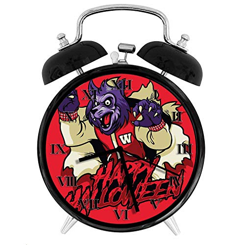 BCWAYGOD Scary Supernatural Werewolf Happy Halloween Icon with Red Background Alarm Clock,Alarm Clock for Kids,Desk Clock 4in -