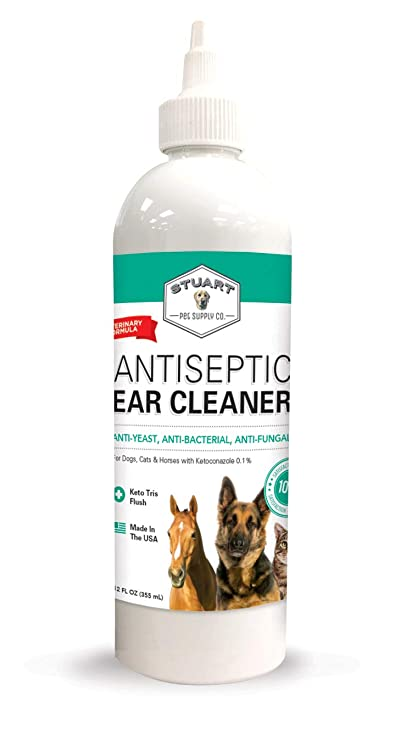 Stuart Pet Supply Co  Antiseptic Dog Ear Infection Treatment (12oz)  -Veterinary Formulated-Veterinary Recommended for Head Shaking, Itching,  Discharge