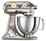 kitchenaid mixer flower - Happy Unicorn Cupcake Pie Doughnut Kitchen Aid Mixer Decal Set - Artistic Full Color Painted Style Colorful Decals - Happy Cute Kawaii Fun