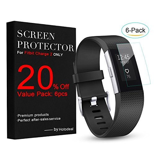 Hotodeal-Fitbit-Charge-2-Screen-Protector-6-Pack-Invisible-HD-Ultrathin-Charge-2-TPU-Sreen-Protector-Anti-scratch-Clear-Protective-Films
