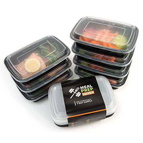 meal prep haven stackable food containers with lids set of 7 import it all. Black Bedroom Furniture Sets. Home Design Ideas