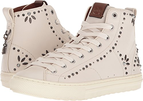 Coach Women's C216 Prairie Rivet High Top Sneaker Chalk Leather 11 B US (Tops Coach High)