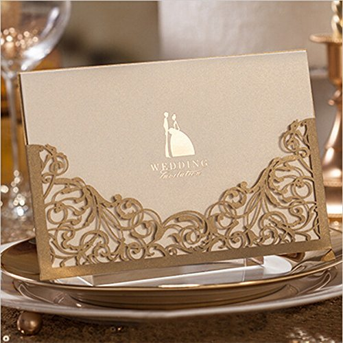 Pack of 20 Floral Laser Cut Invitations Cards - Convites De Casamento
