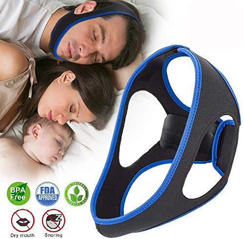 Upgraded Anti Snoring Chin Straps, Ajustable Stop Snoring Solution Snore Reduction Sleep Aids,Anti Snoring Devices Snore Stopper Chin Straps for Men Women Snoring Sleeping Mouth Breathers -Blue