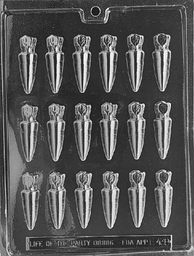 Carrots Candy Mold - Cybrtrayd E438 Small Carrots Chocolate/Candy Mold with Exclusive Cybrtrayd Copyrighted Chocolate Molding Instructions
