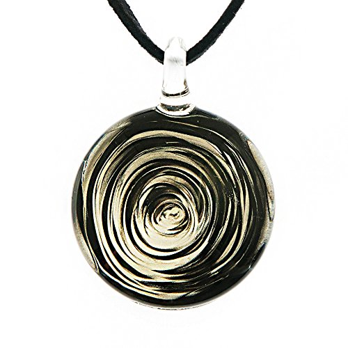 Chuvora Hand Blown Venetian Murano Glass Black White Circular Wave Art Pendant Necklace, 18-20''
