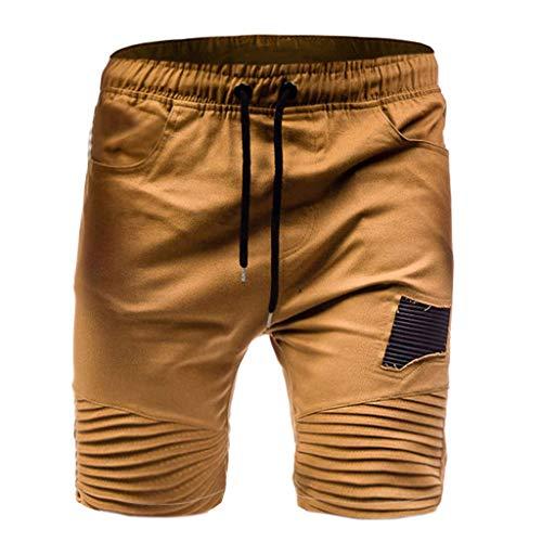 Allywit Mens Gym Drawstring Shorts Workout Training Running Shorts with Pocket Khaki by Allywit-Pants (Image #4)