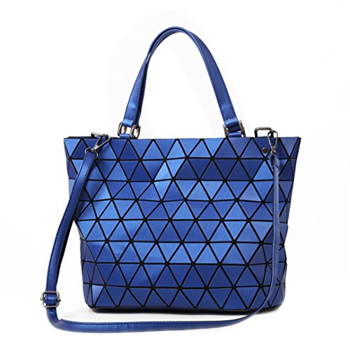 Folding Laser Casual Matte Geometry Bucket Blue Bag Shoulder Tote Matte Handbag Saser Luminous Women Matte Bags Diamond Bag Sequins Mirror Plaid Blue 5568rn