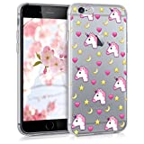 kwmobile Crystal TPU Silicone Case for Apple iPhone 6 / 6S in Design unicorn emoji dark pink yellow transparent
