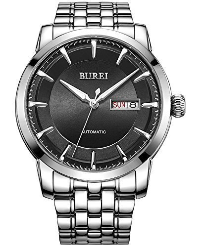 [BUREI Men's Luminous Day and Date Automatic Watch with Silver Link Bracelet,Silver Bezel Black Dial] (Date Swiss Automatic Watch)