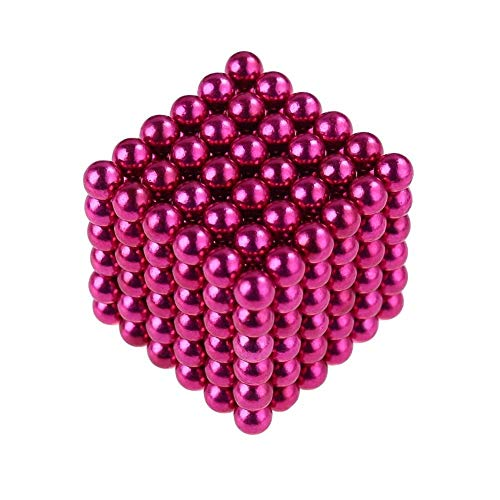 (truwire 5MM Magnetic Ball Set for Office Stress Relief Desk Sculpture Toy Perfect for Crafts, Jewelry and Education Magnetized Fidget Cube Provides Relief for Anxiety, ADHD, Autism, Boredom Pink)