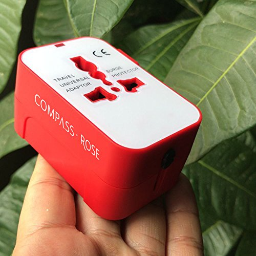 Best International Travel Adapter Europe, Asia (Universal Travel Plug Charger World USB Adapter), Red by Compass Rose Travel Accessories