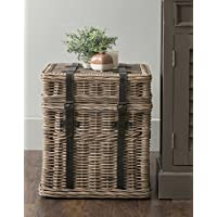 East at Main Colwell Brown Square Rattan Accent End Table, (18x18x20)