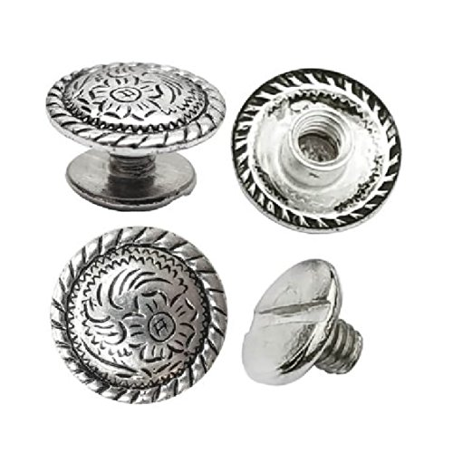 """1/2"""" Antiqued Silver Engraved Concho 1/4"""" Chicago Screws Nickel 10 pc set"""
