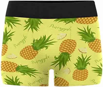 Palm Leaves and Flowers XS-3XL INTERESTPRINT Mens All-Over Print Boxer Briefs Tropical Pattern with Pineapples