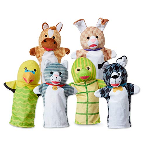 Melissa & Doug Pet Buddies Hand Puppets (Cat, Dog, Horse, Parrot, Turtle, Rabbit, Soft Plush Material, Set of 6) Great Gift for Girls and Boys - Best for 2, 3, 4, 5 and 6 Year Olds