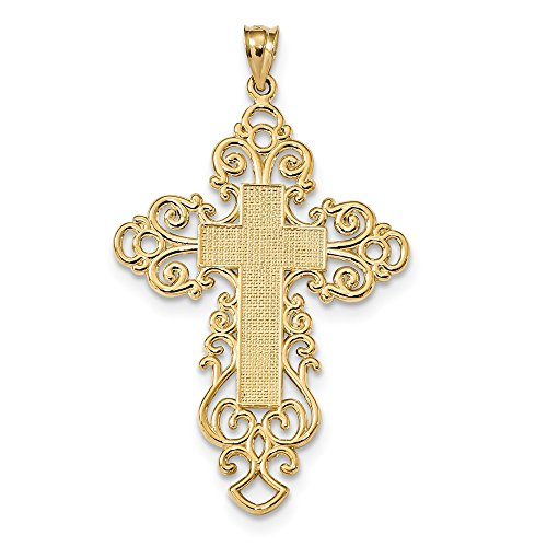 (30.5mm 14k Polished Fancy Cross Pendant)