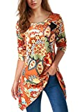onlypuff Orange Printed Tunic Tops Long Sleeve Casual Shirts Asymmetric Shirts L