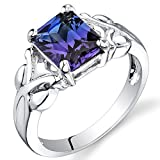 Simulated Alexandrite Ring Sterling Silver Rhodium Nickel Finish 2.75 Carats Size 9