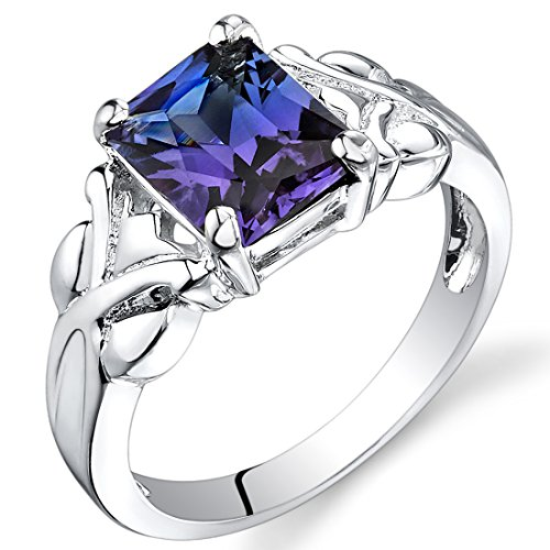 Cocktail Aqua Ring - Simulated Alexandrite Ring Sterling Silver Rhodium Nickel Finish 2.75 Carats Size 8