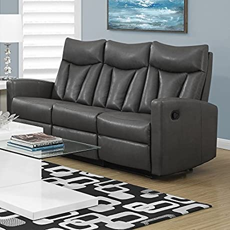 Monarch Specialties I 87GY 3 Reclining Sofa In Charcoal Grey Bonded Leather