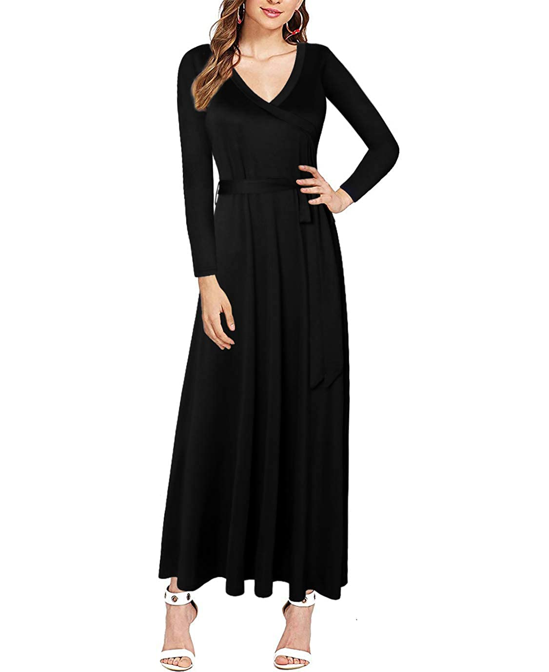 a06ed03d5b54 MISSJOY Women s V-Neck Long Sleeve Solid Party Plain Maxi Dress Loose  Casual Long Dresses at Amazon Women s Clothing store