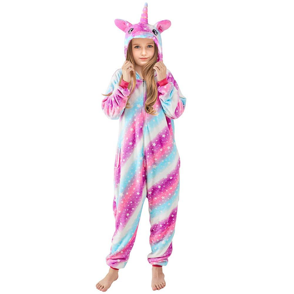 Beinou Einhorn Strampler Pyjamas Flanell Cartoon Kost/üm Jumpsuit Nachtw/äsche Kinder Schlafanzug Unisex Nachtw/äsche Fasching Cosplay Karneval