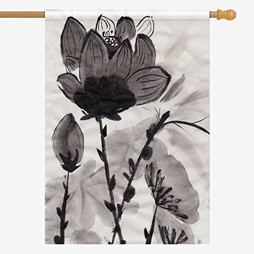 InterestPrint Oriental Lotus Chinese Ink and Wash Painting D