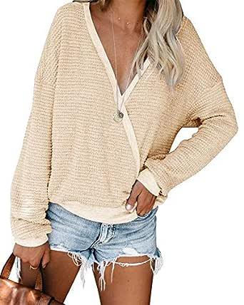 ETCYY Women's Wrap V Neck Sweater Knit Pullover for Women Baggy Batwing Oversized Casual Long Sleeve Jumper Tops Beige-S