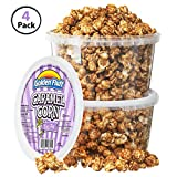 Low Fat Crunchy Caramel Popcorn Tubs [Pack of 4, 7 oz]   BONUS Bag Of Sugar-Toasted Peanuts   Resealable Plastic Containers, Sweet Flavor & Thin Caramel Coating