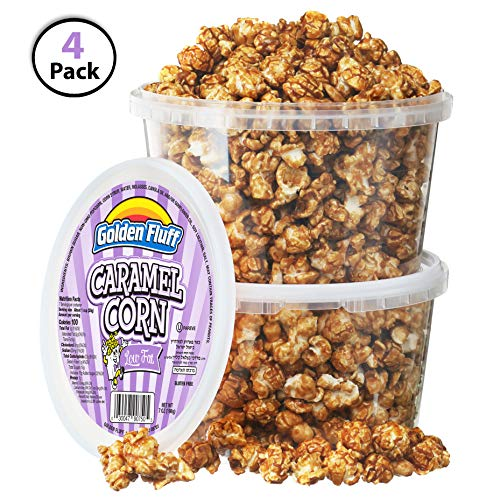 Low Fat Crunchy Caramel Popcorn Tubs [Pack of 4, 8 oz] | BONUS Bag Of Sugar-Toasted Peanuts | Resealable Plastic Containers, Sweet Flavor & Thin Caramel Coating