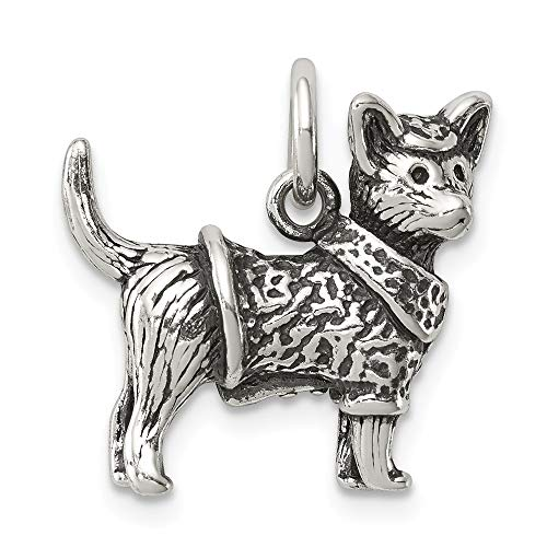 925 Sterling Silver Antiqued Dog with Sweater Ch