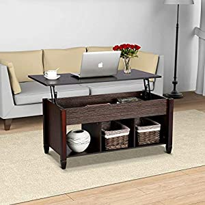 Yaheetech Wood Lift-Top Coffee Table - with Hidden Compartment Home Living Room Furniture