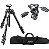 Manfrotto MT055CXPRO4 055 Carbon Fiber 4-Section Tripod Kit with 804 3-Way Head and a Calumet Heavy-Duty Padded Carry Case