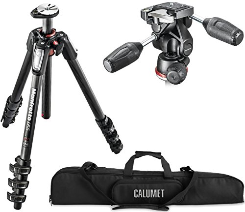 Manfrotto MT055CXPRO4 055 Carbon Fiber 4-Section Tripod Kit with 804 3-Way Head and a Calumet Heavy-Duty Padded Carry (Manfrotto 055cxpro4 Carbon Fiber)