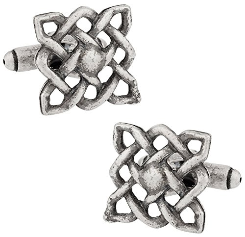 Cuff-Daddy Celtic Square Knot Cufflinks in Oxidized Silver with Presentation Box (Cufflinks Silver Knot Celtic)