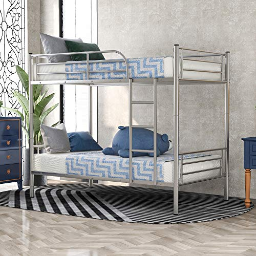 Metal-Bunk-Bed-Twin-Over-Twin-Bunk-Bed-with-Removable-Ladder-for-Kids-and-Teens-Can-be-Divided-into-Two-beds-No-Box-Spring-Needed-Silver