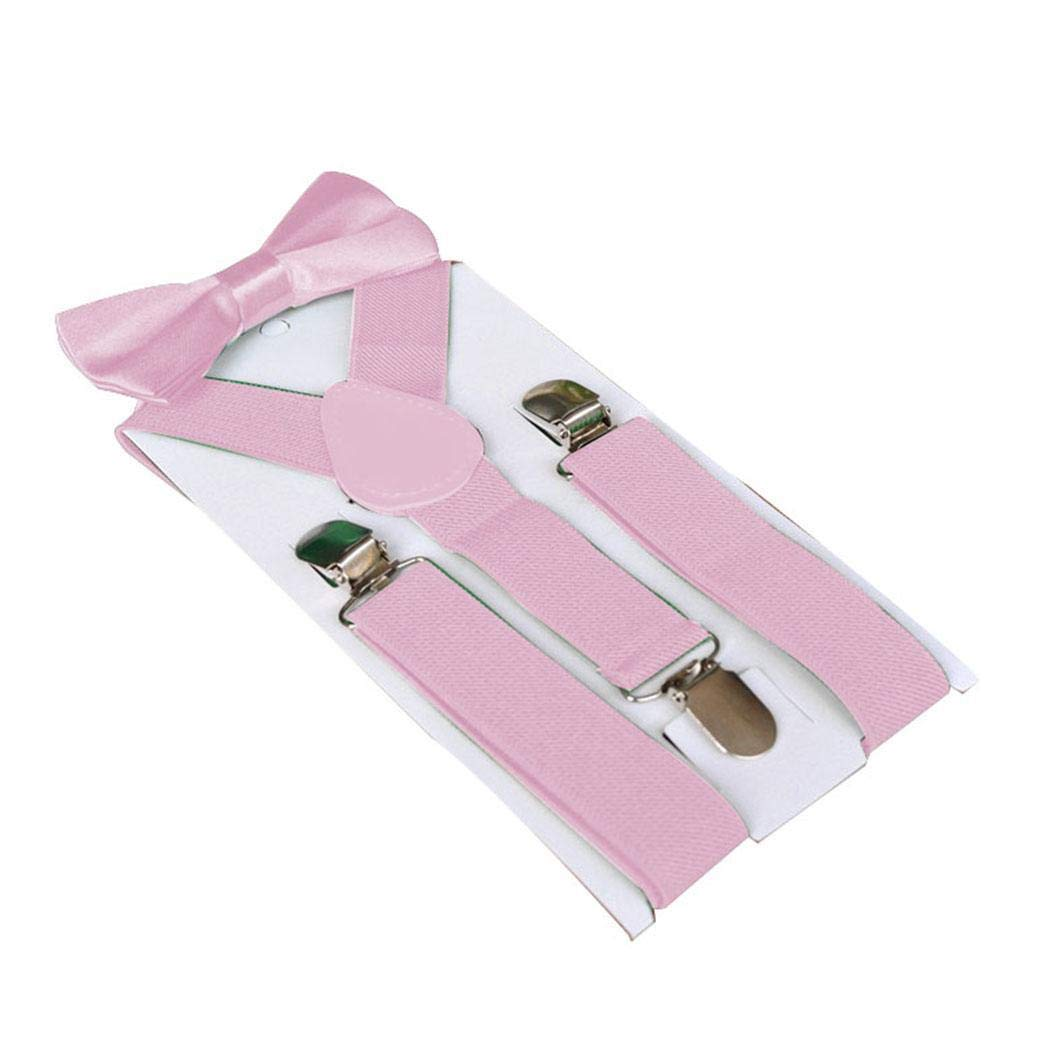 fikole Children Kids 3 Clips Suspenders and Bow Tie Set Party Trousers Suspenders Pant Sets Pink
