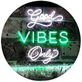 AdvpPro 2C Good Vibes Only Home Bar Disco Room Display Dual Color LED Neon Sign White & Green 12'' x 8.5'' st6s32-i3076-wg