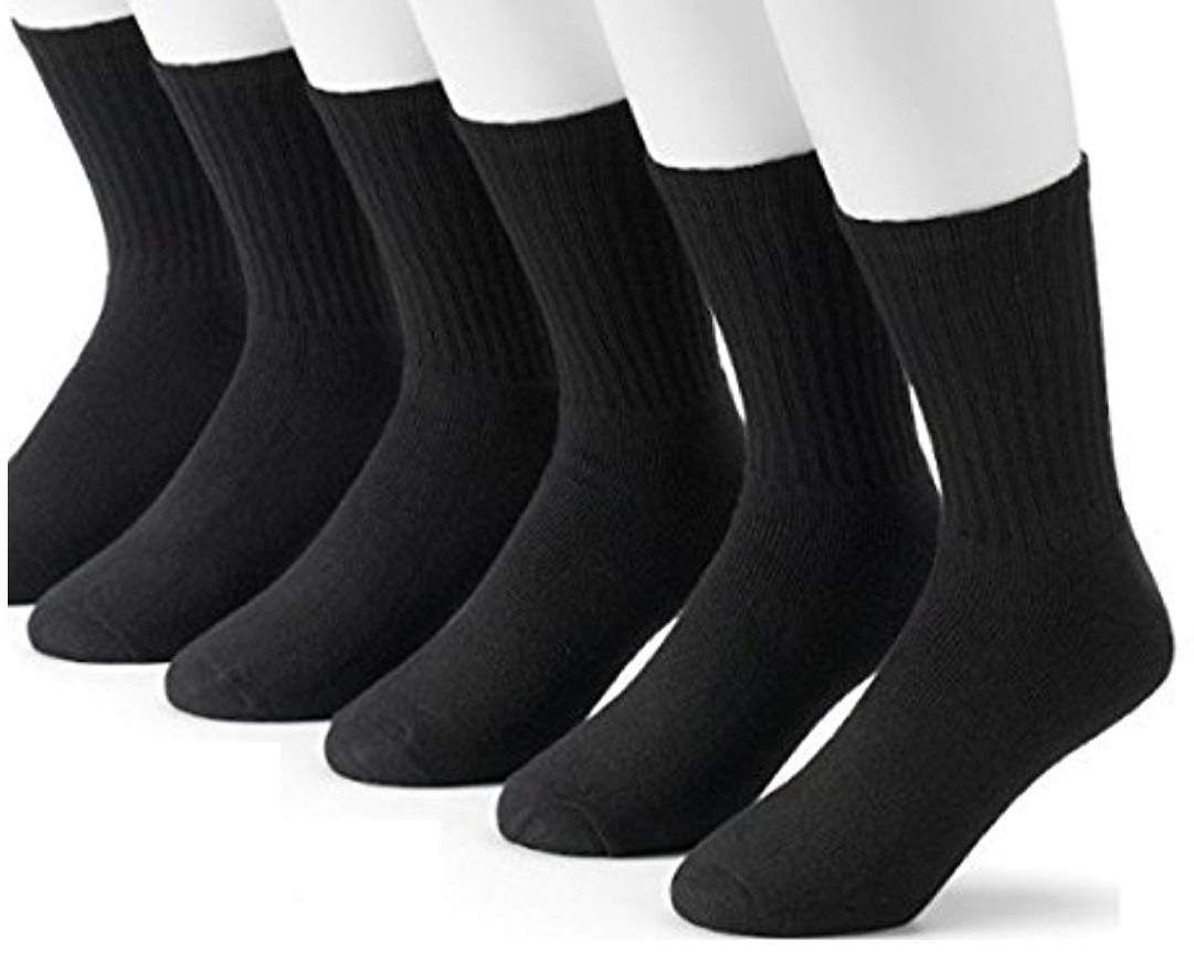 Youth 12 Pairs Black Crew Socks Full Cushion Fits U.S Boys 3-7 Made For Top National Brand