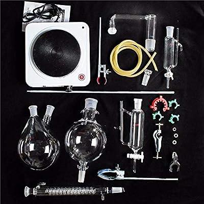 New Lab Essential Oil Extraction Distillation Apparatus Water Distiller Purifier Glassware Kits Hydrosol Moonshine Alcohol Distiller 24pcs 500ML