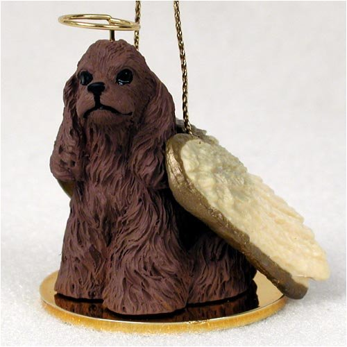 Cocker Spaniel Angel Dog Ornament - Brown