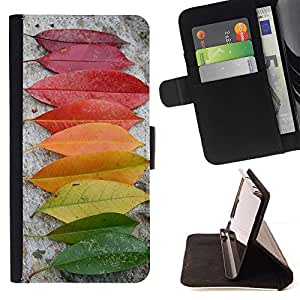 For Sony Xperia M5 E5603 E5606 E5653 Case , Autumn Rainbow Verde Amarillo Rojo Naturaleza- la tarjeta de Crédito Slots PU Funda de cuero Monedero caso cubierta de piel