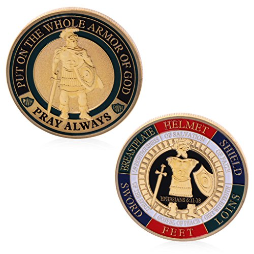 puhoon Commemorative Coin, Put On The Whole Armor of God Gold Plated Commemorative Challenge Coin Souvenir, Valuable Coin for Commemoration, 204# (Gold)