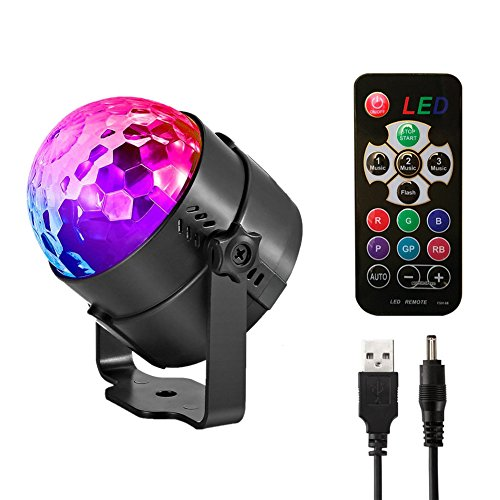 Led Sound Activated Party Lights Disco Ball DJ Strobe Club Lamp 7 Modes Magic Mini Led Stage Lights for Christmas Home Room Dance Parties Birthday DJ Bar Wedding Show Club Pub(3 rd Generation) by AMANEER (Image #7)'