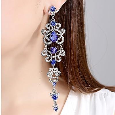 mecresh Silver/Gold/Blue/Purple Teardrop Rhinestone Chandelier Earring and Bracelet Wedding Jewelry Set