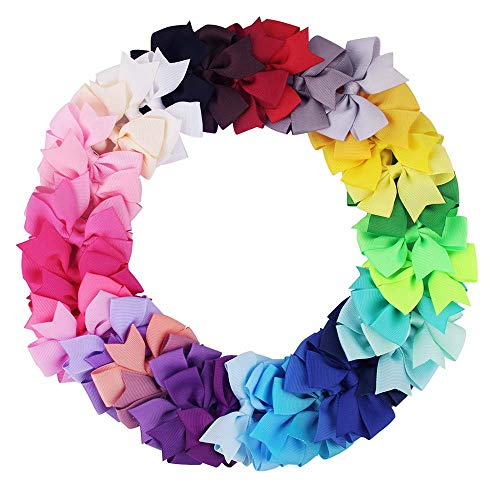 "Didihou 40Pcs 3"" Hair Bows For Girls Hand-made Grosgrain Ribbon Large Butique Hair Bow Alligator Clips for Baby Toddlers"
